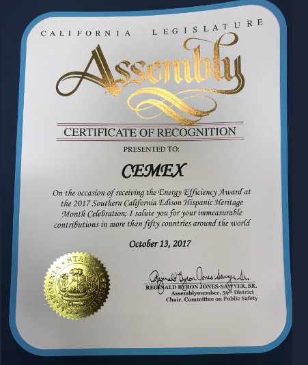 CEMEX honored with Southern California Energy Efficiency Award