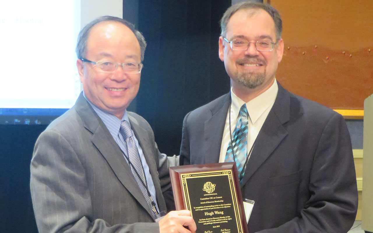 Hugh Wang was elected an honorary member of ASTM Committee C01, presented by  Paul Tennis, Chairman of the ASTM C01 Committe
